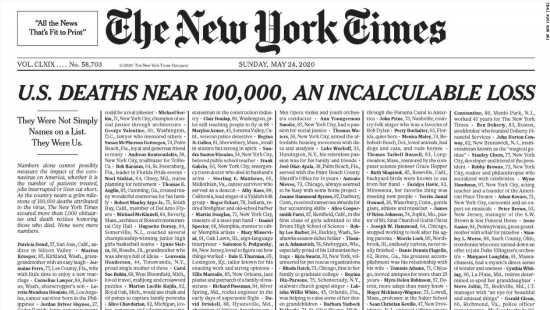NYT honors coronavirus victims with powerful front page