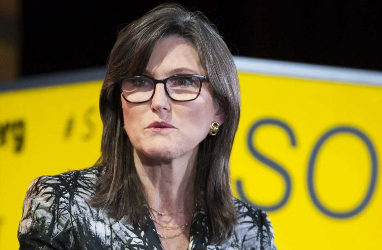 Cathie Wood sees bitcoin joining stocks and bonds as part of the classic balanced portfolio