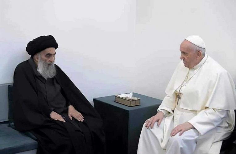 Pope and top Iraq Shiite cleric hold historic meeting, call for religious tolerance and protection of minorities