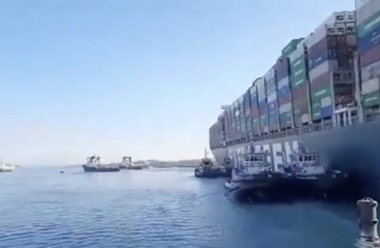 Videos show a part-cleared Suez Canal after the huge container ship blocking it was refloated