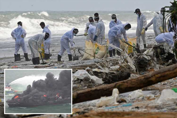 Burning cargo ship causes 'eco-disaster' flooding Sri Lanka beach with toxic waste – as public flee from 'acid pellets'